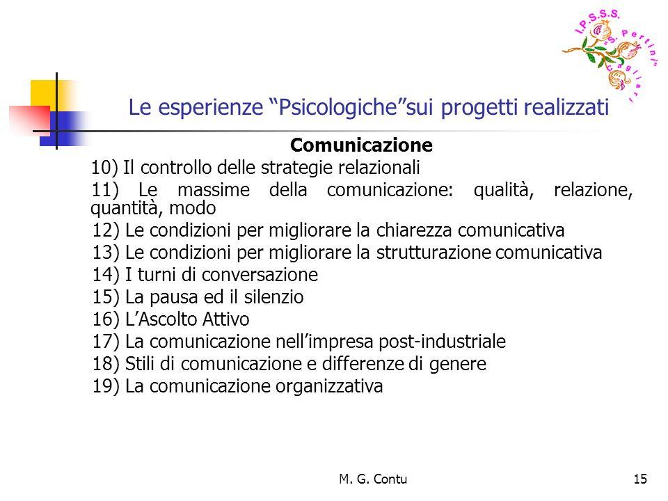 M. G. Contu15 Le esperienze Psicologichesui progetti realizzati Comunicazione 10) Il controllo delle strategie relazionali 11) Le massime della comuni