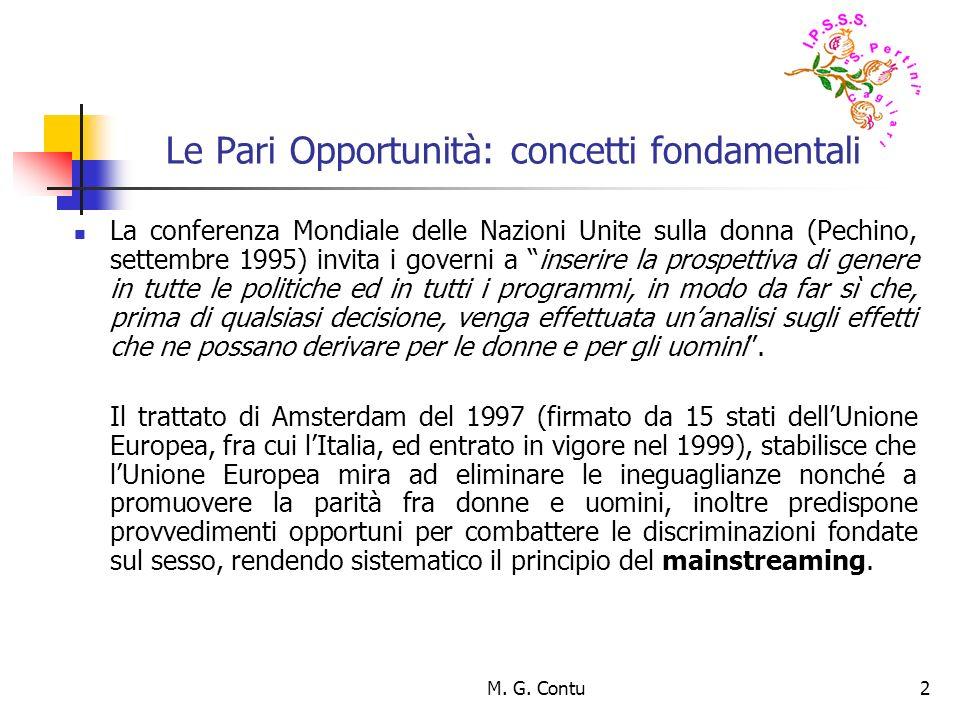 M. G. Contu2 Le Pari Opportunità: concetti fondamentali La conferenza Mondiale delle Nazioni Unite sulla donna (Pechino, settembre 1995) invita i gove