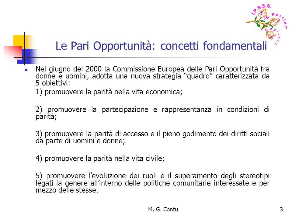 M. G. Contu3 Le Pari Opportunità: concetti fondamentali Nel giugno del 2000 la Commissione Europea delle Pari Opportunità fra donne e uomini, adotta u