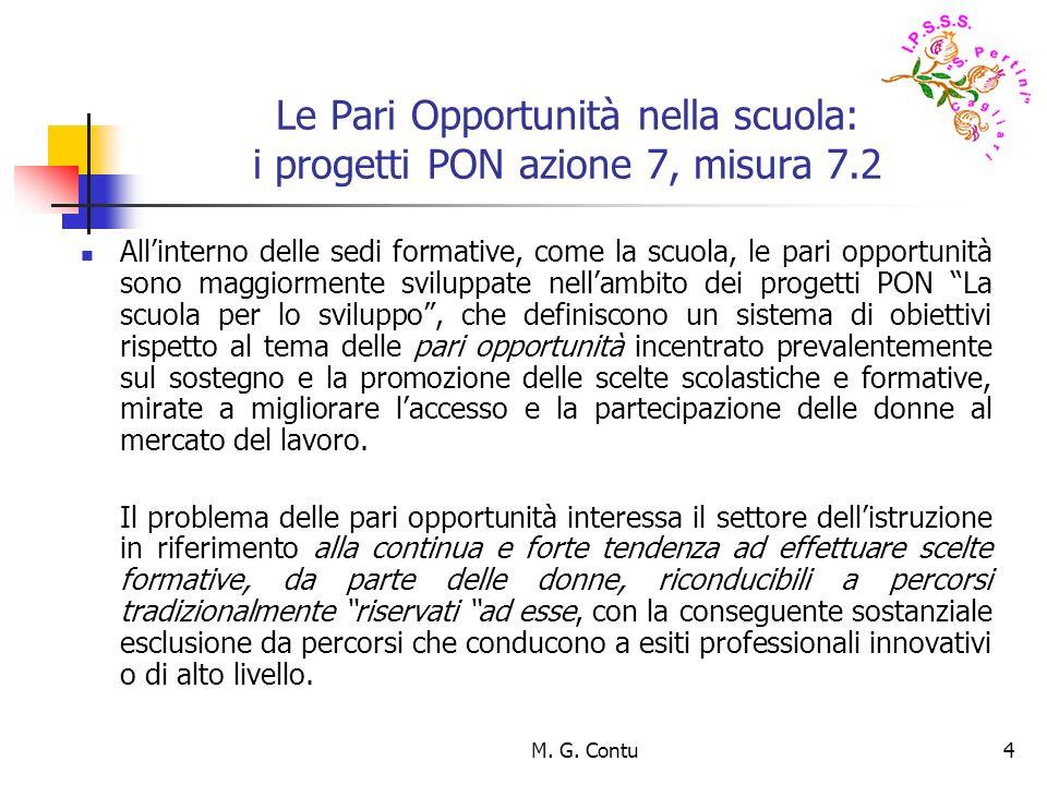M. G. Contu4 Le Pari Opportunità nella scuola: i progetti PON azione 7, misura 7.2 Allinterno delle sedi formative, come la scuola, le pari opportunit