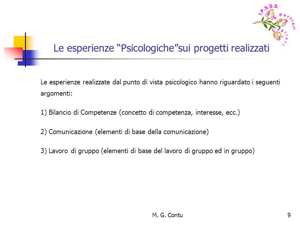 M. G. Contu9 Le esperienze Psicologichesui progetti realizzati Le esperienze realizzate dal punto di vista psicologico hanno riguardato i seguenti arg