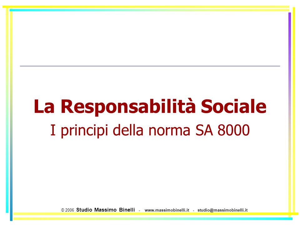 La Responsabilità Sociale I principi della norma SA 8000 © 2006 Studio Massimo Binelli - www.massimobinelli.it - studio@massimobinelli.it