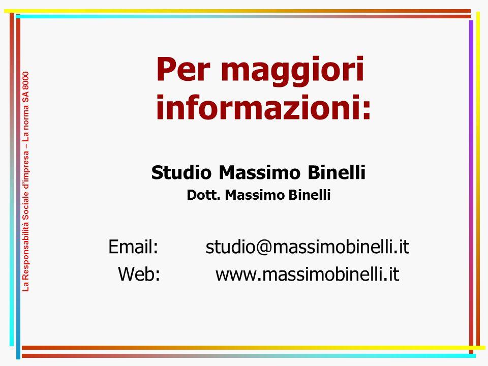 Per maggiori informazioni: Studio Massimo Binelli Dott.