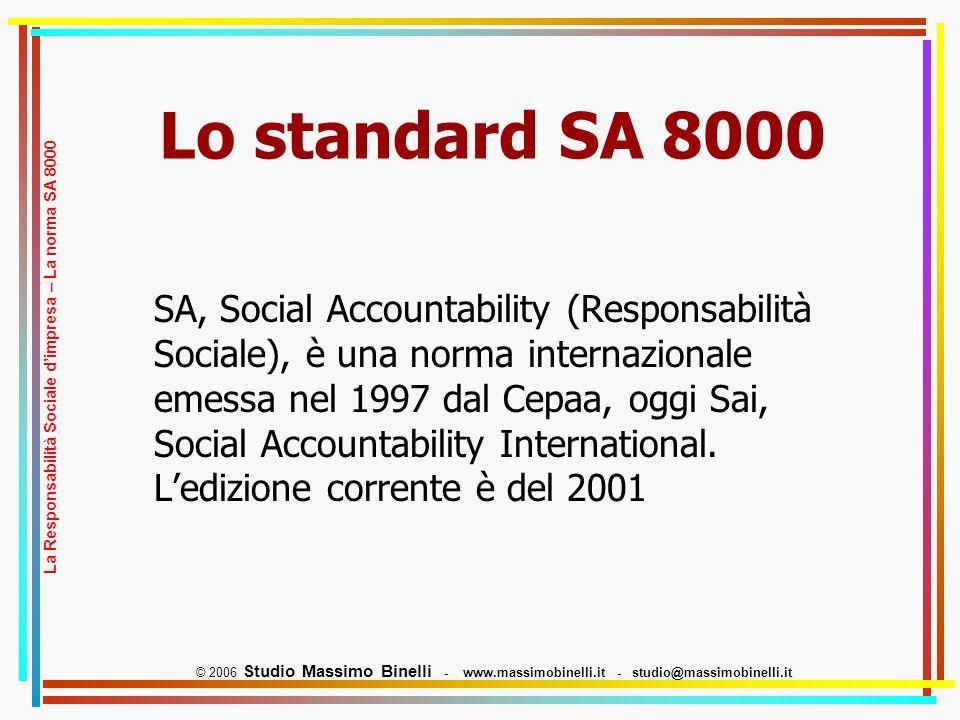 Lo standard SA 8000 SA, Social Accountability (Responsabilità Sociale), è una norma internazionale emessa nel 1997 dal Cepaa, oggi Sai, Social Accountability International.