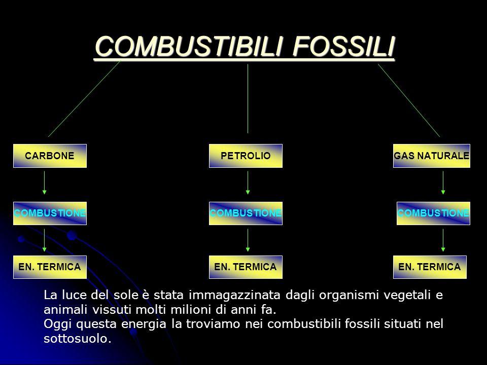 COMBUSTIBILI FOSSILI COMBUSTIBILI FOSSILI CARBONEPETROLIOGAS NATURALE COMBUSTIONE EN. TERMICA La luce del sole è stata immagazzinata dagli organismi v