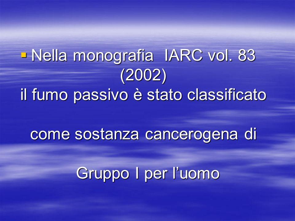 Nella monografia IARC vol. 83 (2002) il fumo passivo è stato classificato come sostanza cancerogena di Gruppo I per luomo Nella monografia IARC vol. 8