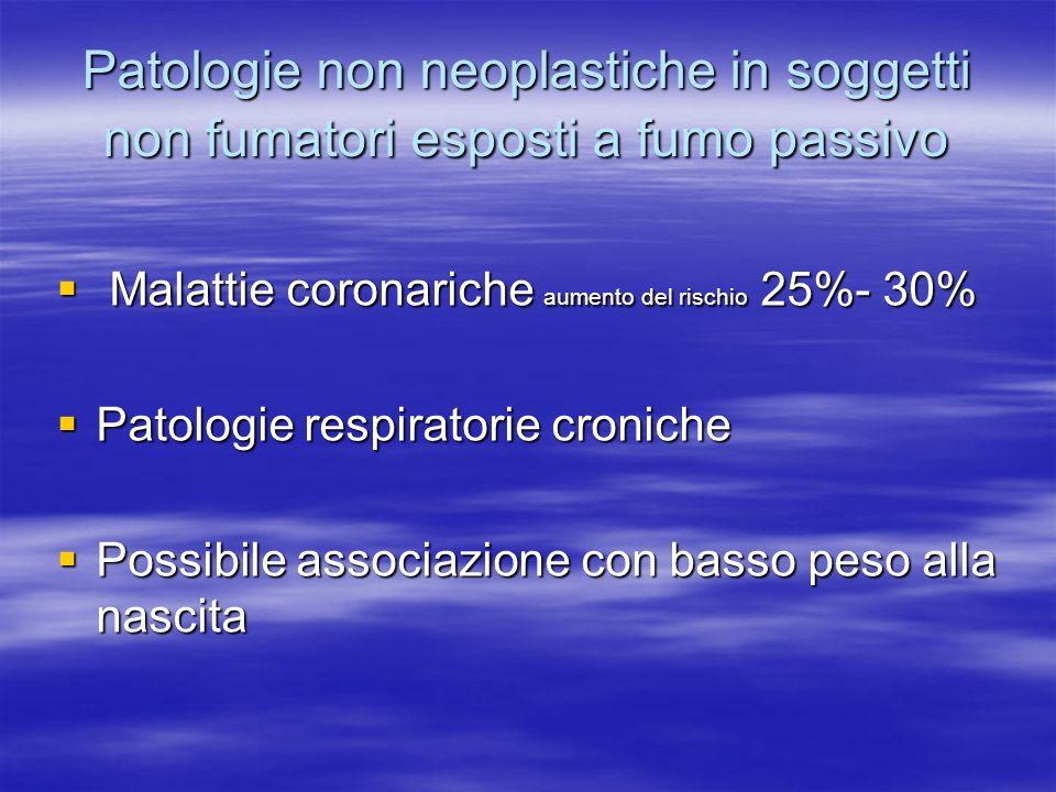Patologie non neoplastiche in soggetti non fumatori esposti a fumo passivo Malattie coronariche aumento del rischio 25%- 30% Malattie coronariche aume
