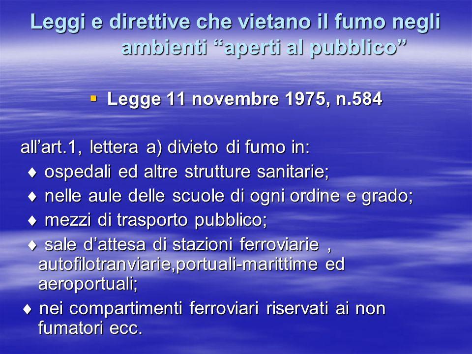 Leggi e direttive che vietano il fumo negli ambienti aperti al pubblico Legge 11 novembre 1975, n.584 Legge 11 novembre 1975, n.584 allart.1, lettera
