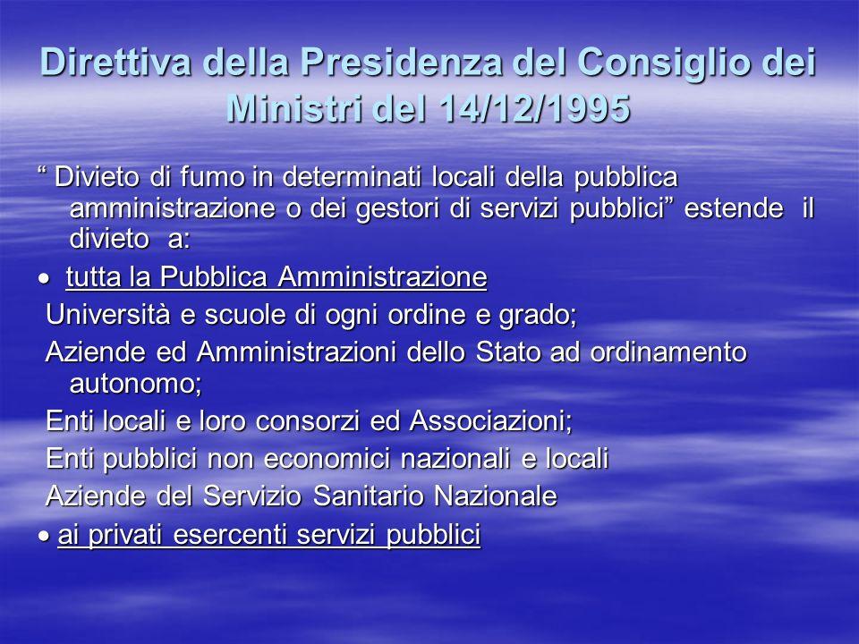 Direttiva della Presidenza del Consiglio dei Ministri del 14/12/1995 Divieto di fumo in determinati locali della pubblica amministrazione o dei gestor