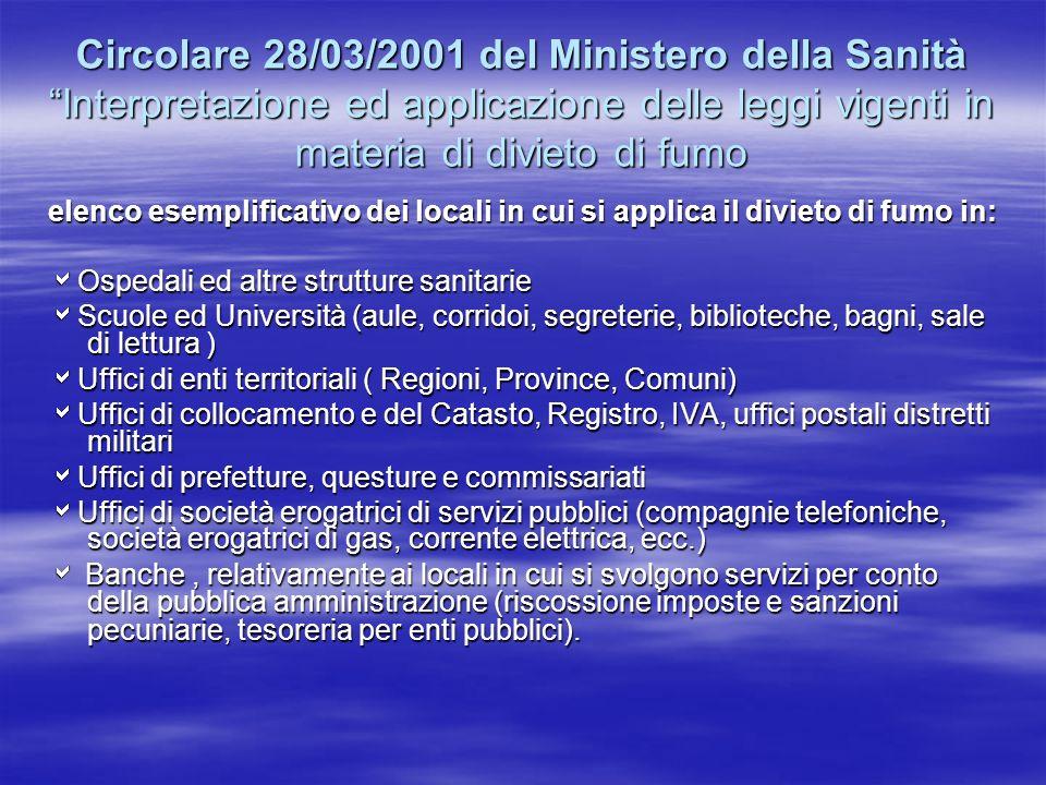 Circolare 28/03/2001 del Ministero della Sanità Interpretazione ed applicazione delle leggi vigenti in materia di divieto di fumo elenco esemplificati