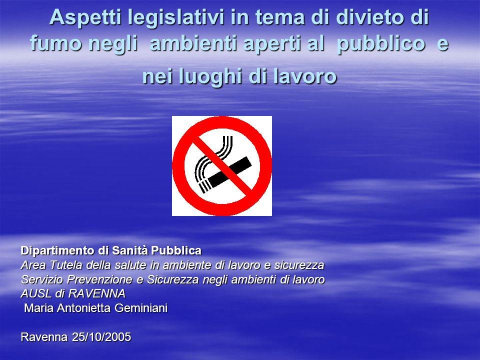 Aspetti legislativi in tema di divieto di fumo negli ambienti aperti al pubblico e nei luoghi di lavoro Dipartimento di Sanità Pubblica Area Tutela de