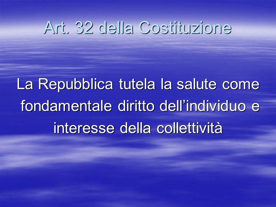 Art. 32 della Costituzione La Repubblica tutela la salute come fondamentale diritto dellindividuo e fondamentale diritto dellindividuo e interesse del