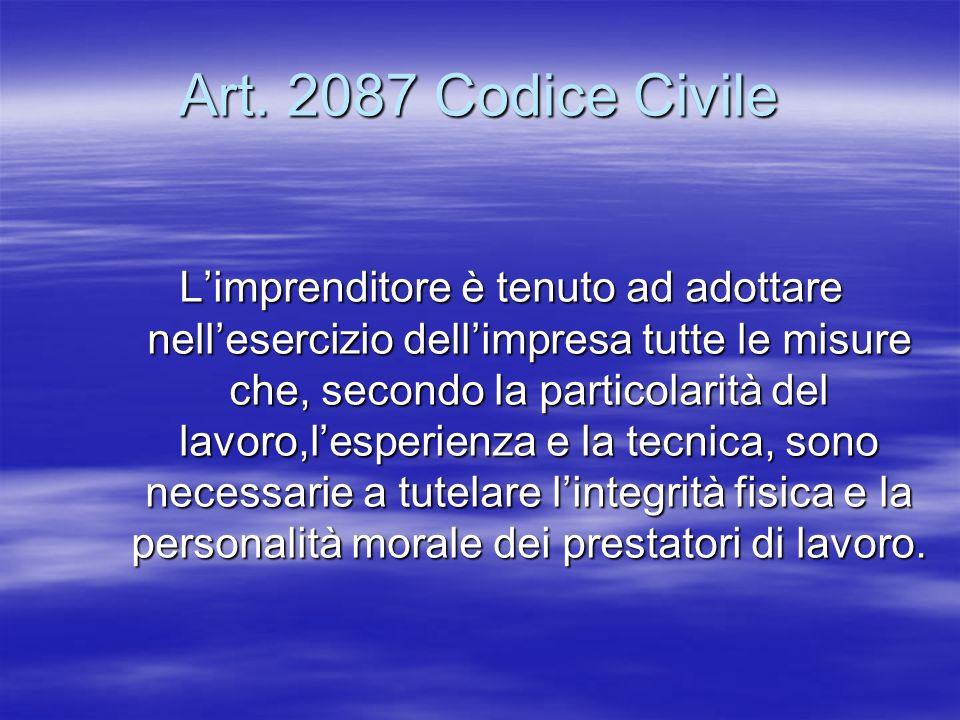 Art. 2087 Codice Civile Limprenditore è tenuto ad adottare nellesercizio dellimpresa tutte le misure che, secondo la particolarità del lavoro,lesperie