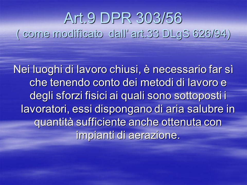 Art.9 DPR 303/56 ( come modificato dall art.33 DLgS 626/94) Nei luoghi di lavoro chiusi, è necessario far sì che tenendo conto dei metodi di lavoro e