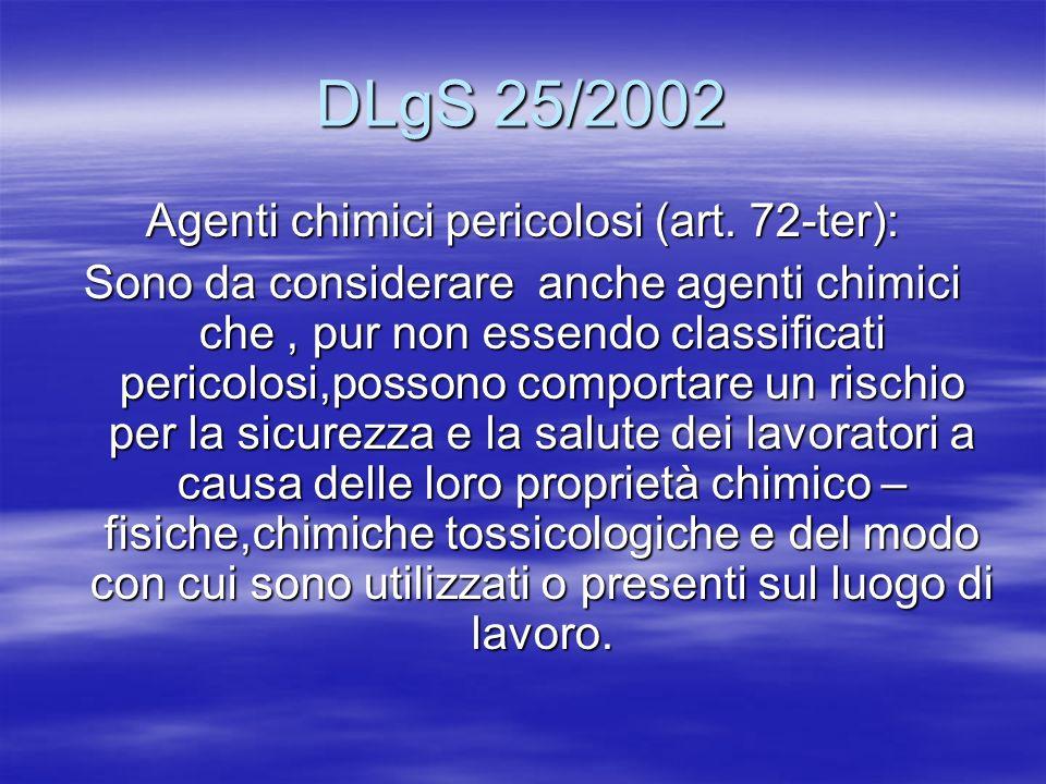 DLgS 25/2002 Agenti chimici pericolosi (art. 72-ter): Sono da considerare anche agenti chimici che, pur non essendo classificati pericolosi,possono co