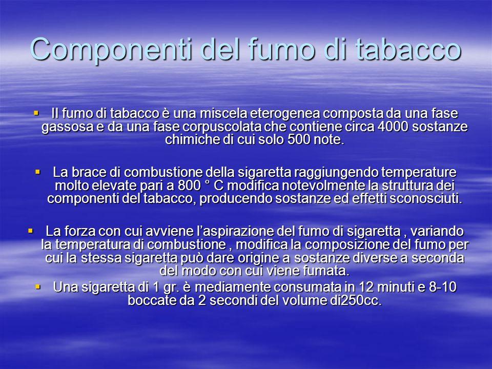 Componenti del fumo di tabacco Il fumo di tabacco è una miscela eterogenea composta da una fase gassosa e da una fase corpuscolata che contiene circa