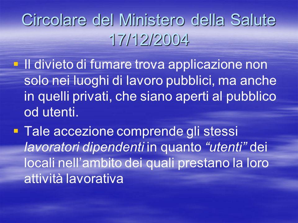 Circolare del Ministero della Salute 17/12/2004 Il divieto di fumare trova applicazione non solo nei luoghi di lavoro pubblici, ma anche in quelli pri