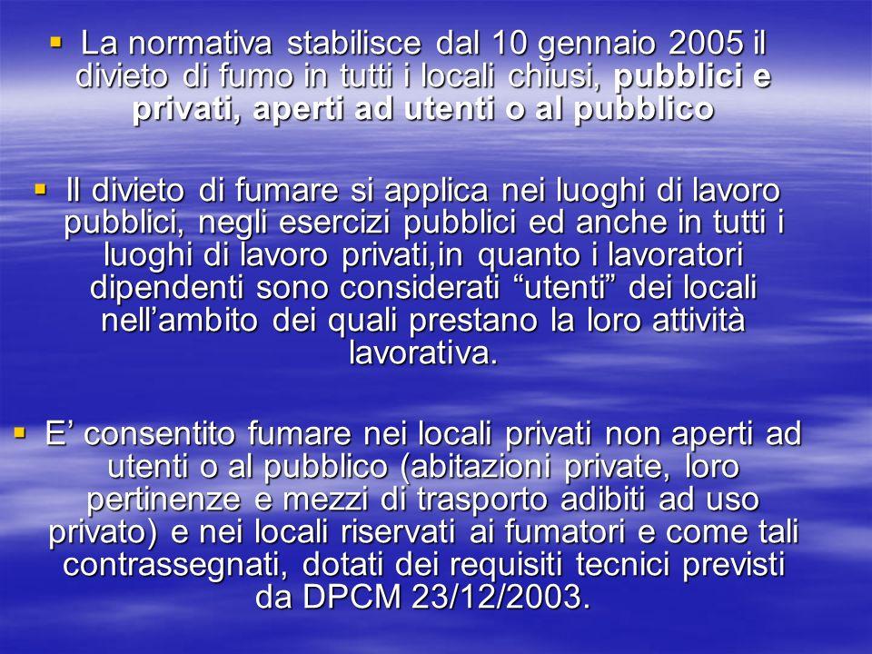 La normativa stabilisce dal 10 gennaio 2005 il divieto di fumo in tutti i locali chiusi, pubblici e privati, aperti ad utenti o al pubblico La normati