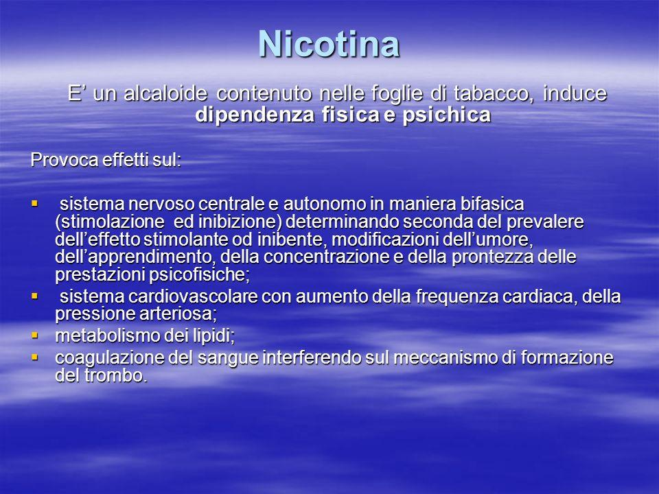 Nicotina E un alcaloide contenuto nelle foglie di tabacco, induce dipendenza fisica e psichica E un alcaloide contenuto nelle foglie di tabacco, induc