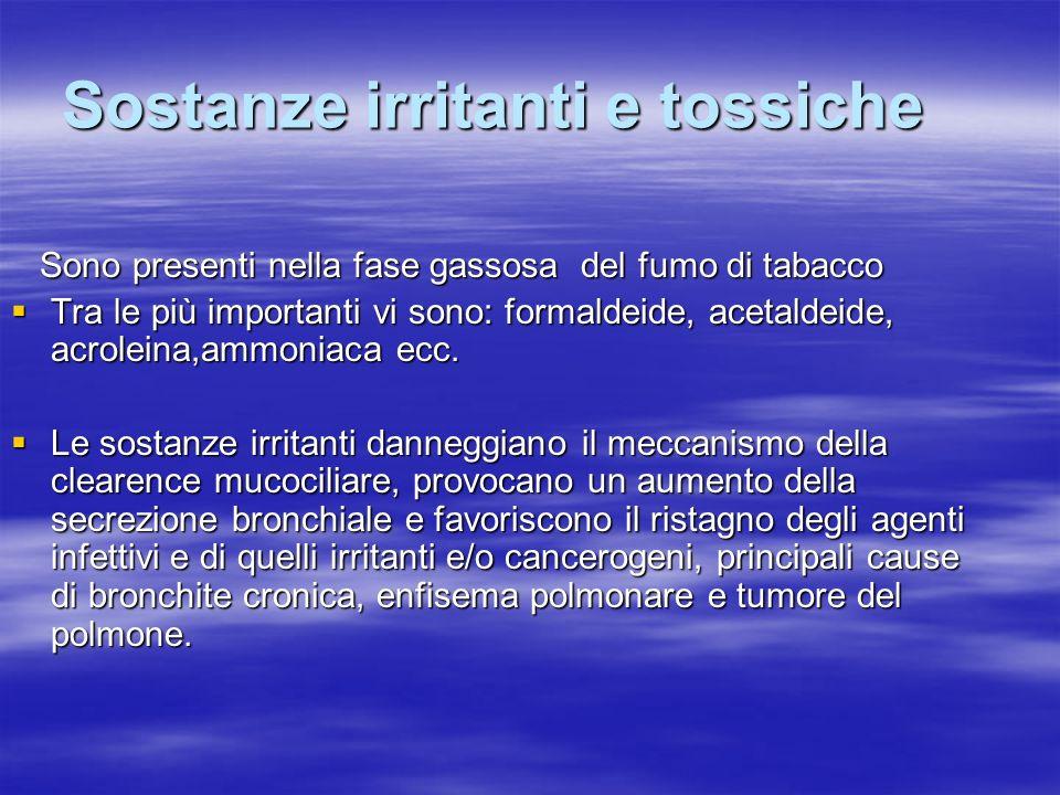 Sostanze irritanti e tossiche Sono presenti nella fase gassosa del fumo di tabacco Sono presenti nella fase gassosa del fumo di tabacco Tra le più imp