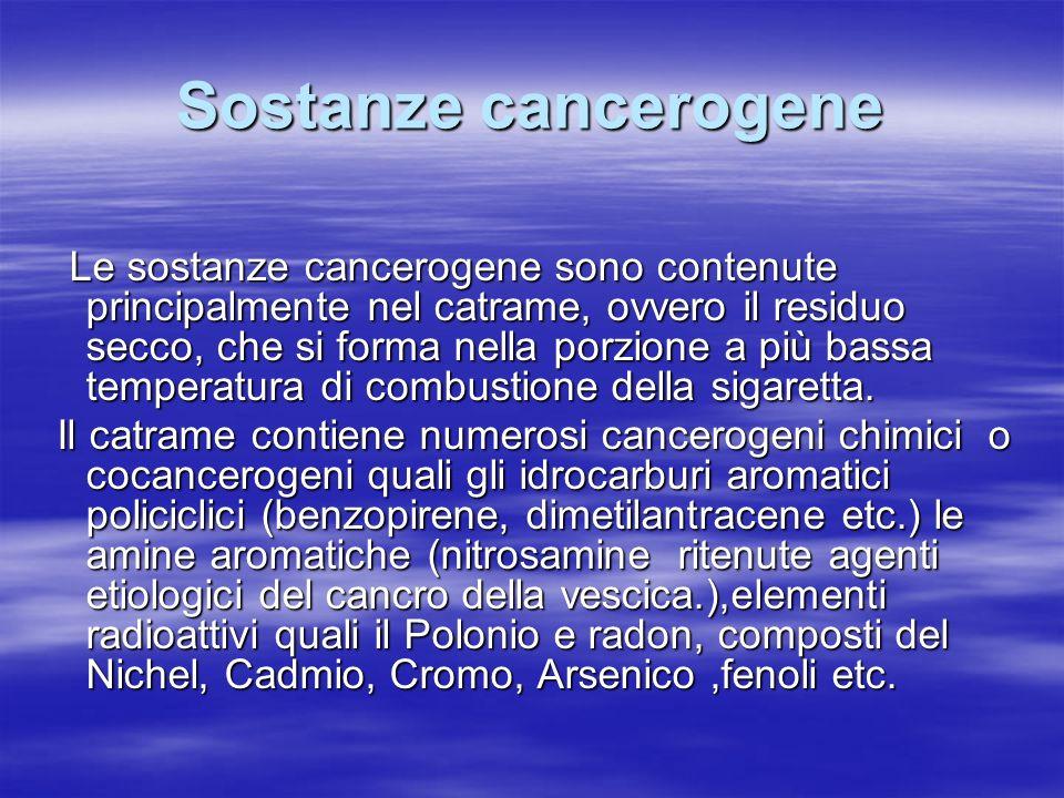 Sostanze cancerogene Le sostanze cancerogene sono contenute principalmente nel catrame, ovvero il residuo secco, che si forma nella porzione a più bas