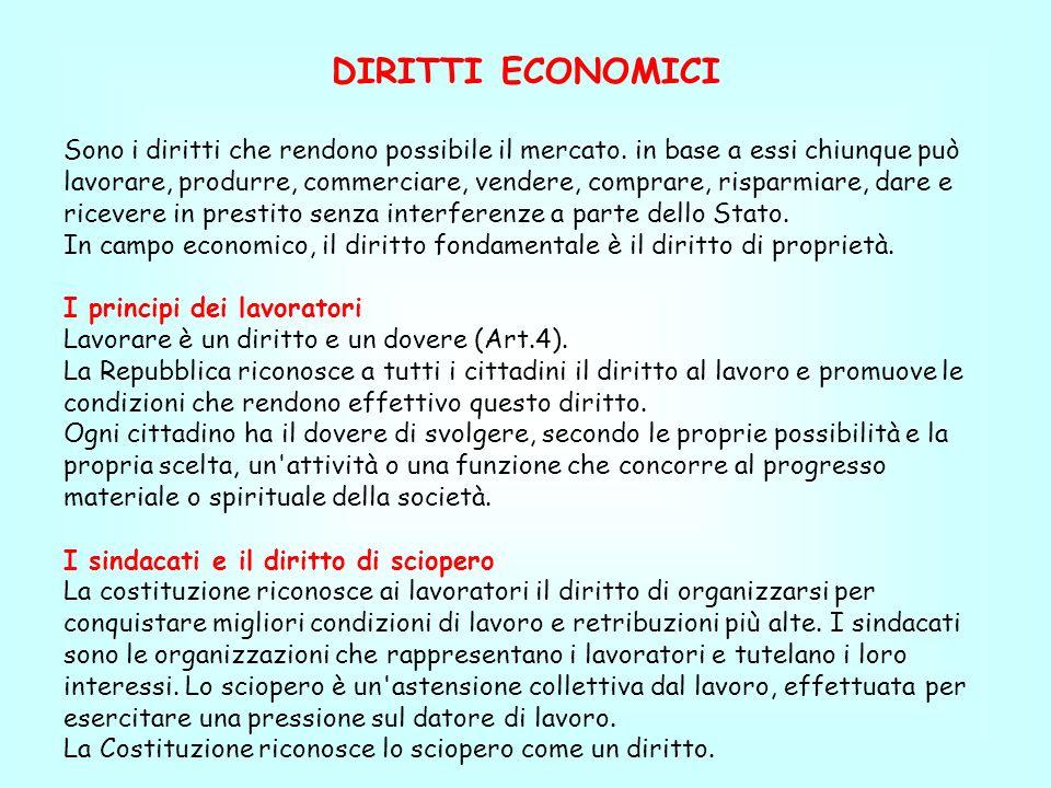 DIRITTI ECONOMICI Sono i diritti che rendono possibile il mercato. in base a essi chiunque può lavorare, produrre, commerciare, vendere, comprare, ris