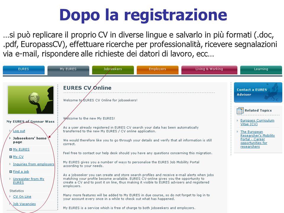 Dopo la registrazione …si può replicare il proprio CV in diverse lingue e salvarlo in più formati (.doc,.pdf, EuropassCV), effettuare ricerche per pro