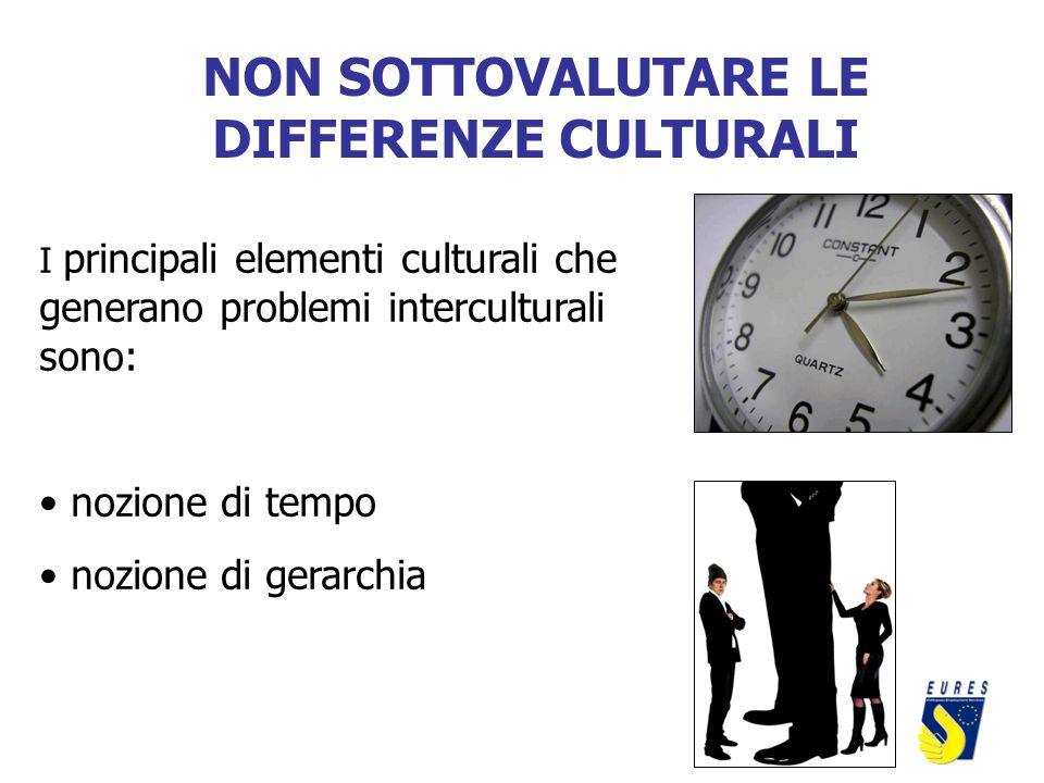 NON SOTTOVALUTARE LE DIFFERENZE CULTURALI I principali elementi culturali che generano problemi interculturali sono: nozione di tempo nozione di gerar