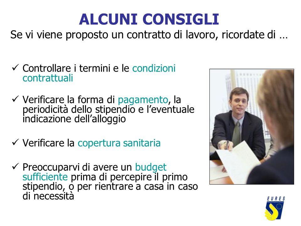 ALCUNI CONSIGLI Se vi viene proposto un contratto di lavoro, ricordate di … Controllare i termini e le condizioni contrattuali Verificare la forma di