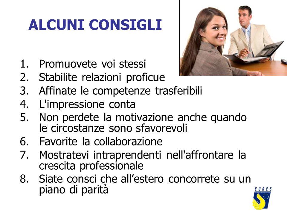 ALCUNI CONSIGLI 1.Promuovete voi stessi 2.Stabilite relazioni proficue 3.Affinate le competenze trasferibili 4.L'impressione conta 5.Non perdete la mo