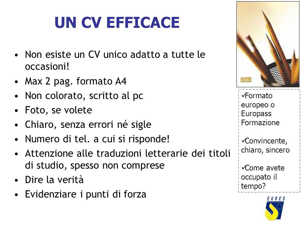 UN CV EFFICACE Non esiste un CV unico adatto a tutte le occasioni! Max 2 pag. formato A4 Non colorato, scritto al pc Foto, se volete Chiaro, senza err