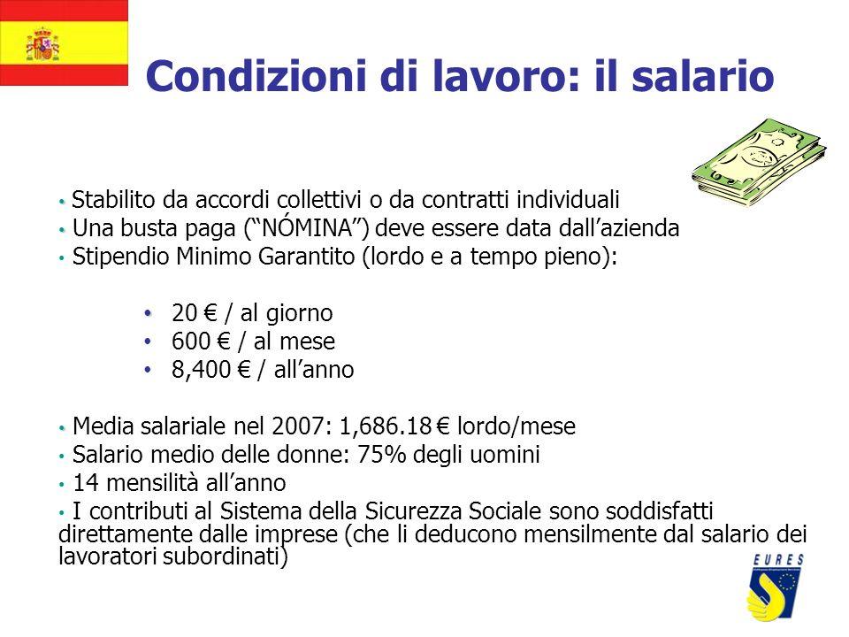 Condizioni di lavoro: il salario Stabilito da accordi collettivi o da contratti individuali Una busta paga (NÓMINA) deve essere data dallazienda Stipe