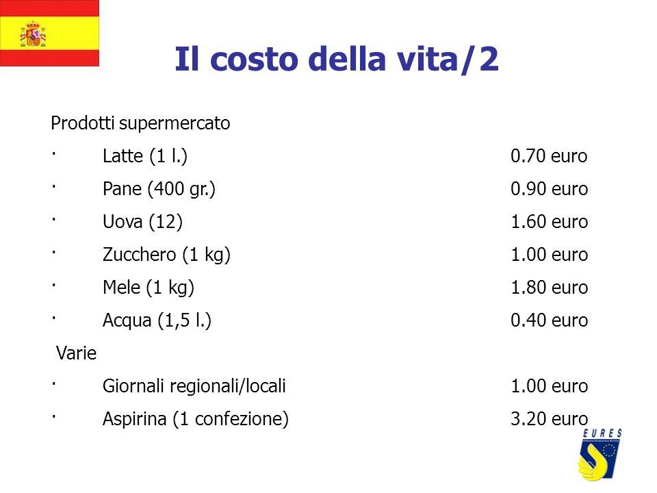 Il costo della vita/2 Prodotti supermercato · Latte (1 l.)0.70 euro · Pane (400 gr.)0.90 euro · Uova (12)1.60 euro · Zucchero (1 kg)1.00 euro · Mele (