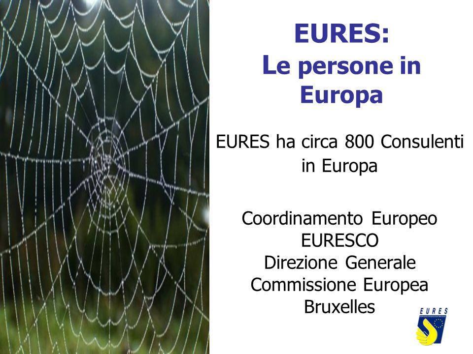 EURES: L e persone in Europa EURES ha circa 800 Consulenti in Europa Coordinamento Europeo EURESCO Direzione Generale Commissione Europea Bruxelles