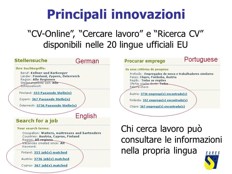 Principali innovazioni CV-Online, Cercare lavoro e Ricerca CV disponibili nelle 20 lingue ufficiali EU Chi cerca lavoro può consultare le informazioni