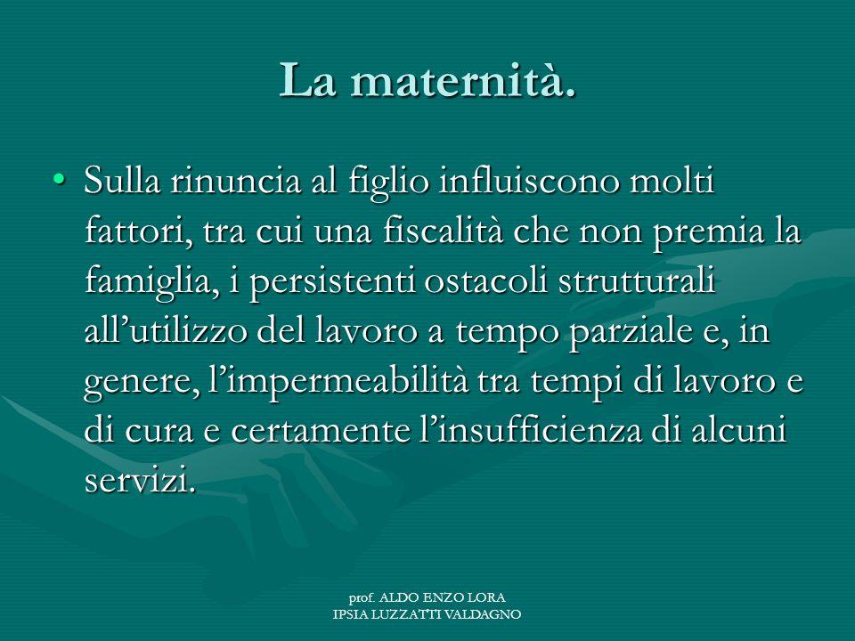 prof. ALDO ENZO LORA IPSIA LUZZATTI VALDAGNO La maternità.