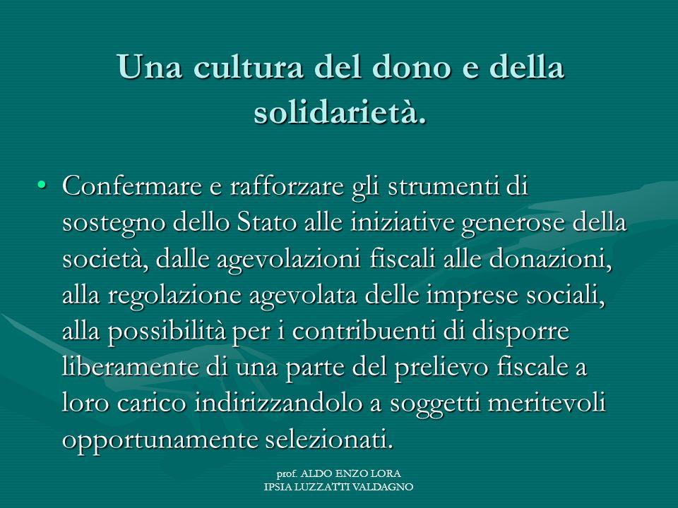 prof. ALDO ENZO LORA IPSIA LUZZATTI VALDAGNO Una cultura del dono e della solidarietà.