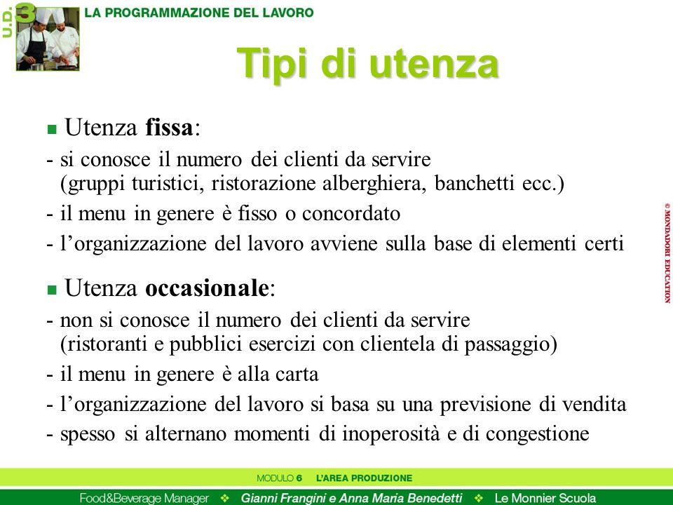 Tipi di utenza n Utenza fissa: -si conosce il numero dei clienti da servire (gruppi turistici, ristorazione alberghiera, banchetti ecc.) -il menu in g