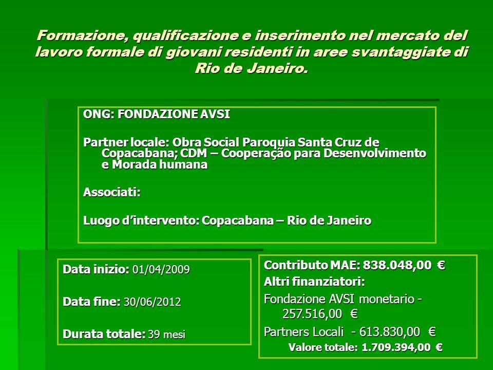 Formazione, qualificazione e inserimento nel mercato del lavoro formale di giovani residenti in aree svantaggiate di Rio de Janeiro. ONG: FONDAZIONE A