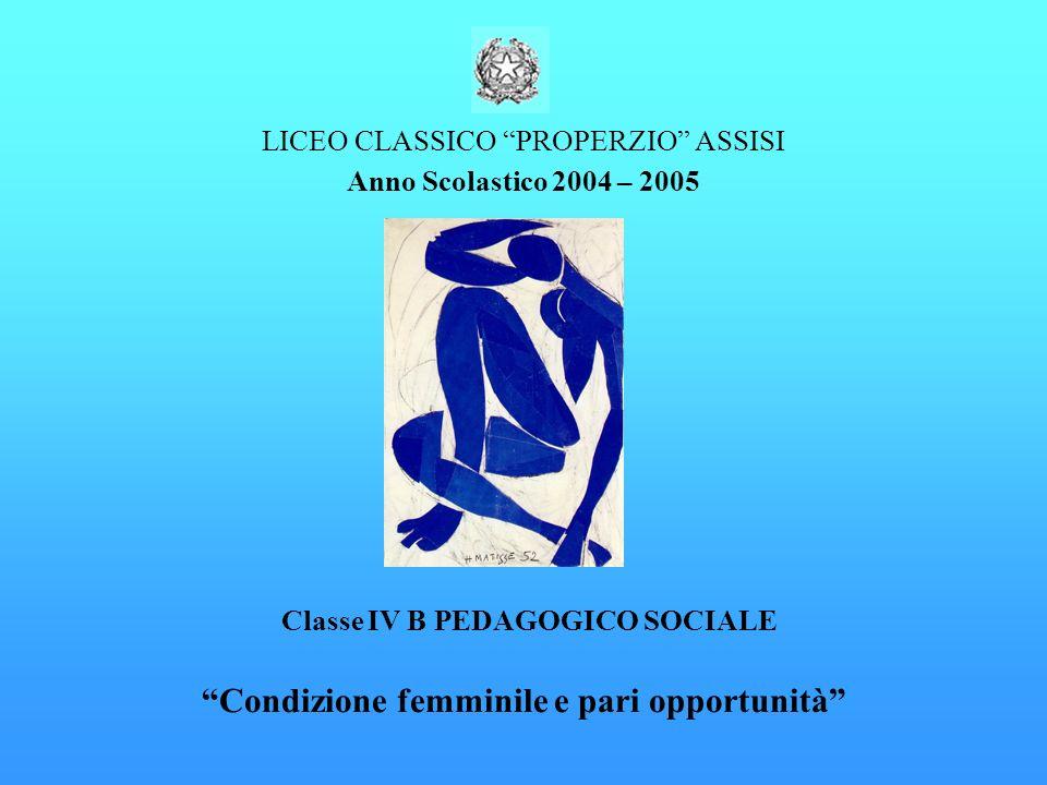 LICEO CLASSICO PROPERZIO ASSISI Anno Scolastico 2004 – 2005 Classe IV B PEDAGOGICO SOCIALE Condizione femminile e pari opportunità