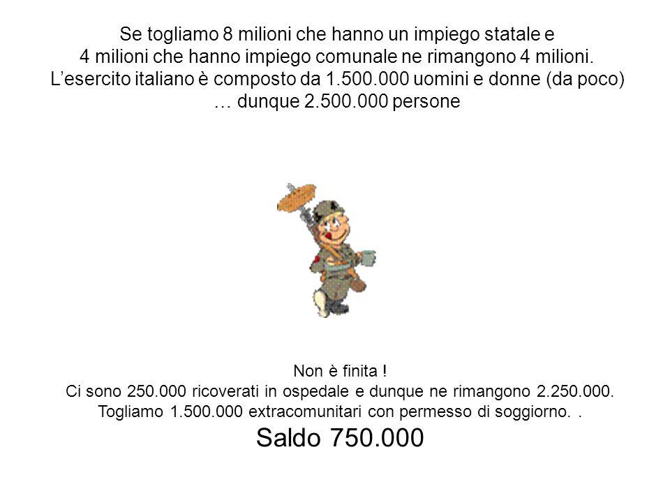 Se togliamo 8 milioni che hanno un impiego statale e 4 milioni che hanno impiego comunale ne rimangono 4 milioni.