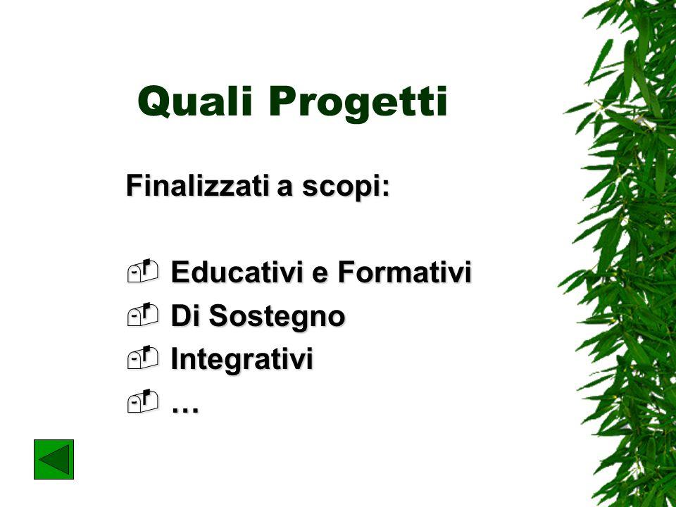 Quali Progetti Finalizzati a scopi: Educativi e Formativi Educativi e Formativi Di Sostegno Di Sostegno Integrativi Integrativi …