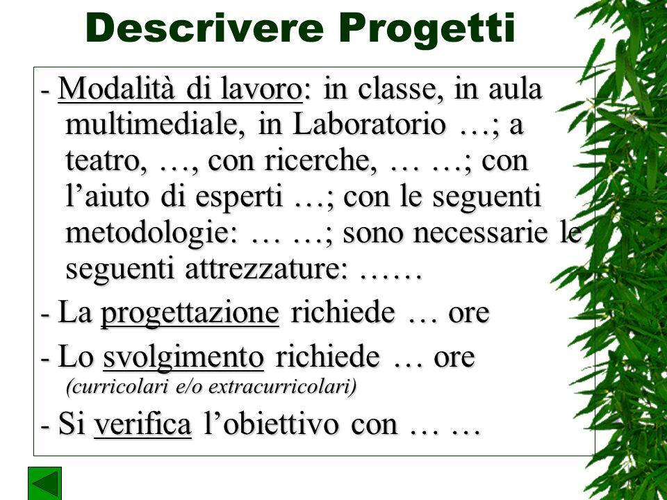 Descrivere Progetti Si può trovare aiuto in una scheda già impostata, concordata in Istituto.
