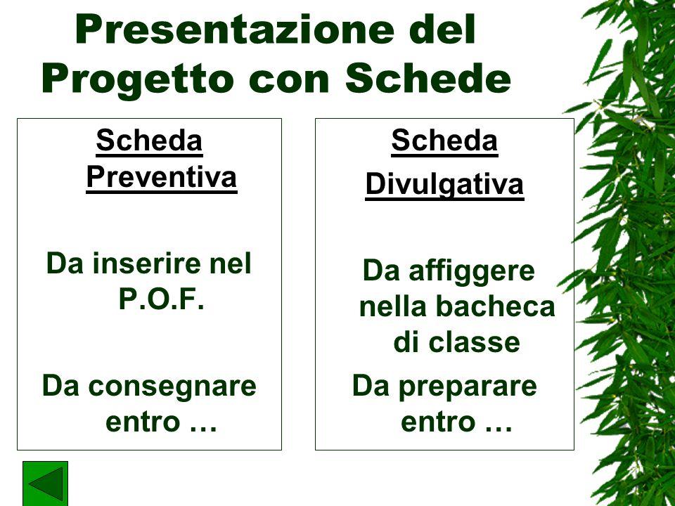 Presentazione del Progetto con Schede Scheda Preventiva Da inserire nel P.O.F.
