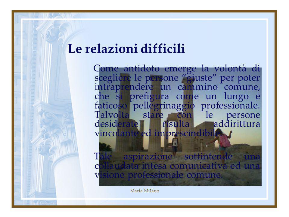 Maria Milano Le relazioni difficili Come antidoto emerge la volontà di scegliere le persone giuste per poter intraprendere un cammino comune, che si prefigura come un lungo e faticoso pellegrinaggio professionale.