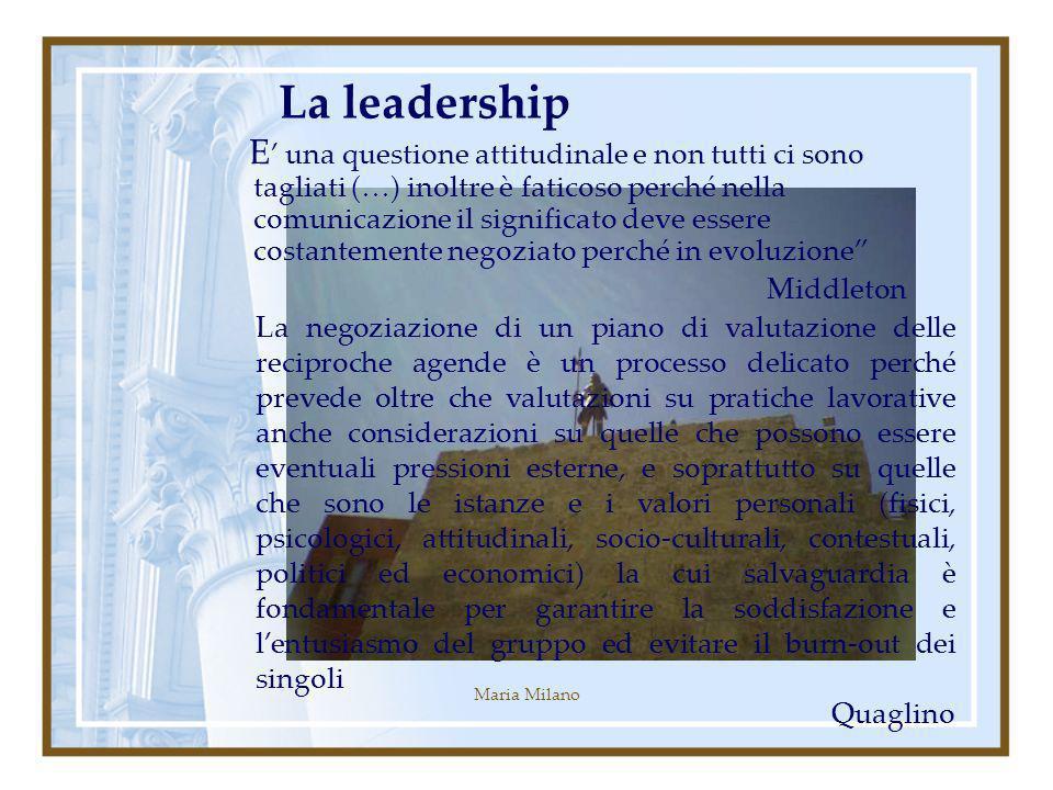Maria Milano La leadership E una questione attitudinale e non tutti ci sono tagliati (…) inoltre è faticoso perché nella comunicazione il significato