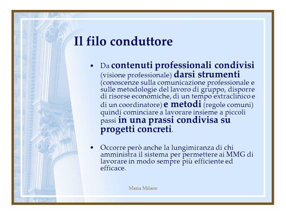 Maria Milano Il filo conduttore Da contenuti professionali condivisi (visione professionale) darsi strumenti (conoscenze sulla comunicazione professio