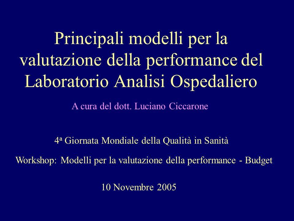 Principali modelli per la valutazione della performance del Laboratorio Analisi Ospedaliero A cura del dott. Luciano Ciccarone 4 a Giornata Mondiale d