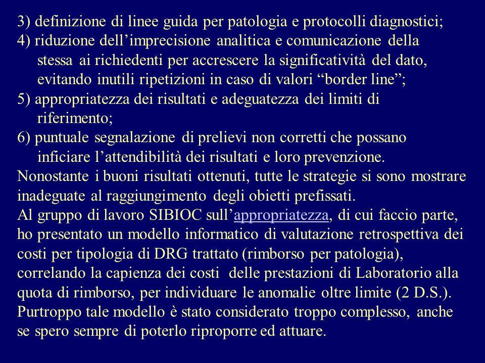 3) definizione di linee guida per patologia e protocolli diagnostici; 4) riduzione dellimprecisione analitica e comunicazione della stessa ai richiede