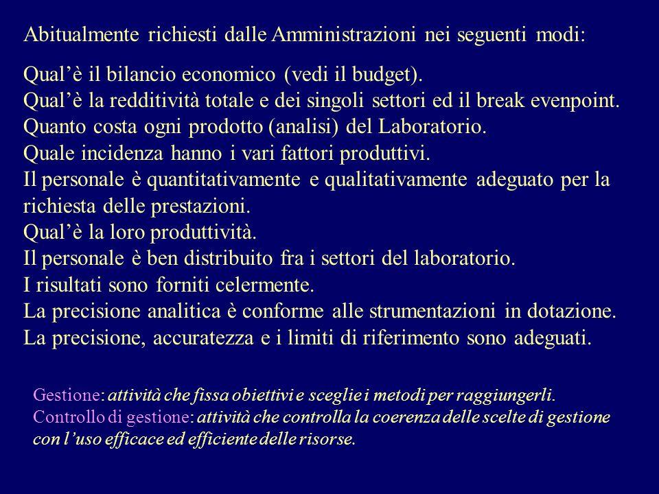 Abitualmente richiesti dalle Amministrazioni nei seguenti modi: Qualè il bilancio economico (vedi il budget). Qualè la redditività totale e dei singol